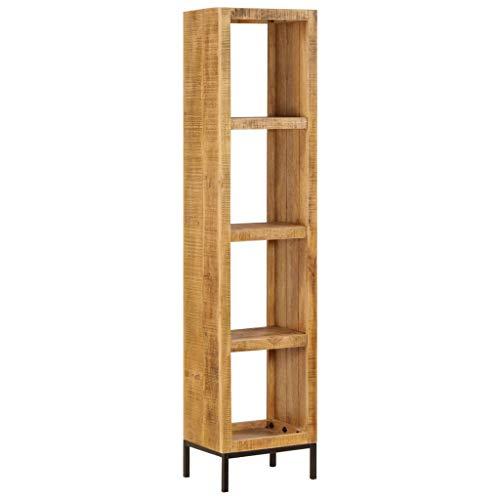 vidaXL Mangoholz Massiv Bücherregal mit 4 Fächern Standregal Aktenregal Raumteiler Wandregal Regal Raumtrenner Holzregal Büroregal 40x30x175cm