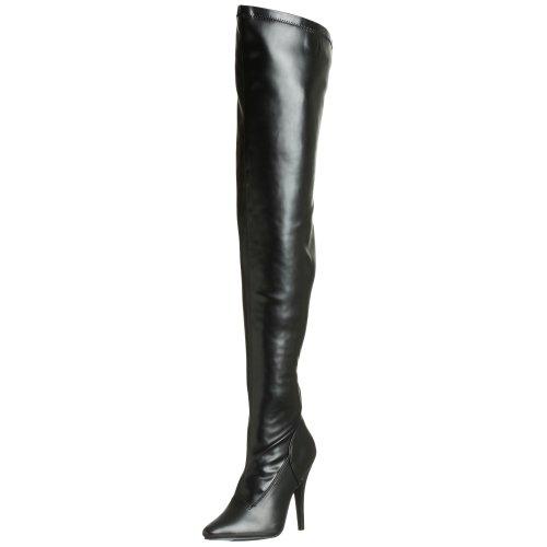 Pleaser High Heel Overknee Stiletto Domina SEDUCE-3000 Kunstleder schwarz, Größe F:8 US / 38 Pleaser Stiletto