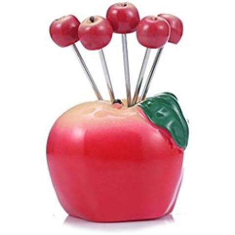 Sun lamps- Creativo della forcella della frutta sveglia Forcella Forcella frutta dell'acciaio inossidabile Imposta Firmato piccolo ago