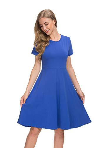Coreal Damen Casual A-Linie Kurzarm Mini Kleider Knielang Blau Small (Für Frauen Blaue Casual-kleider)