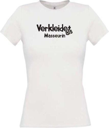 Lady-Shirt Verkleidet als Masseurin Karneval Fasching Kostüm Verkleidung, Farbe weiss, Größe (Kostüm Masseurin)