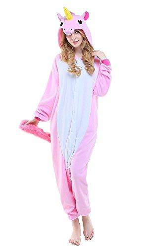 ABYED® Kostüm Jumpsuit Onesie Tier Fasching Karneval Halloween kostüm Erwachsene Unisex Cosplay Schlafanzug- Größe XXL -for Höhe 182-190CM, Rosa Einhorn