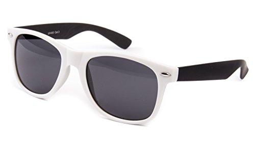 Ciffre Sonnenbrille Nerd Nerdbrille Stil Brille Pilotenbrille Vintage Weiß Schwarz gummiert