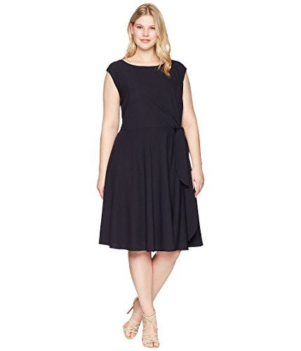 Tahari by ASL Womens Plus Size Crepe Side Tie Fit and Flare Dress