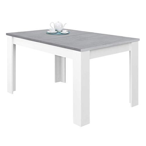 Habitdesign 0L4586A - Mesa de Comedor Extensible, Mesa salón o Cocina, Acabado en Color Blanco Artik y Gris Cemento, Modelo...