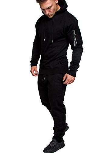 Amaci&Sons Herren Cargo Stil Sportanzug Jogginganzug Trainingsanzug Sporthose+Hoodie 1003 Schwarz L -