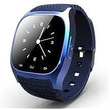 M26 - SmartWatch color azul con pantalla táctil, Bluetooth, reloj con manos libres compatible con Android y iOS, color negro