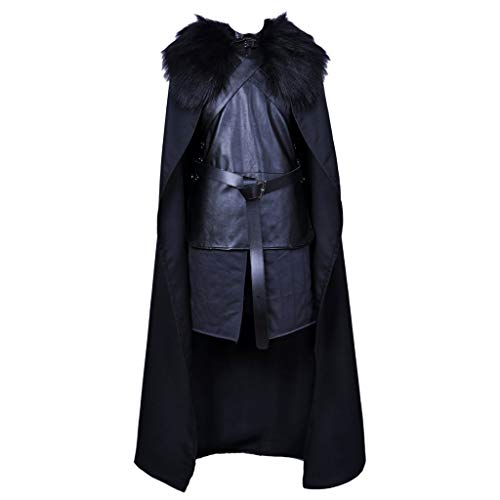 Krieger König Kostüm - QWEASZER Game of Thrones TV Cosplay Jon Schnee Kostüm Set Halloween Leder Mittelalter König Ritter Kostüm Krieger Robe Komplettset,Black- 163~167cm