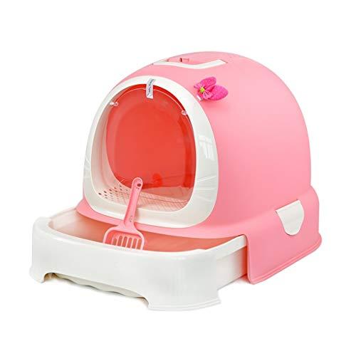 MZP Tragbar Katzentoilette Leicht Zerlegen Haustier Katze Wurf Box, Mit Kapuze Wurf Tablett, Leicht Zu Reinigender Katze Toilette (Color : Pink, Size : L 52*W 42*H40cm) -