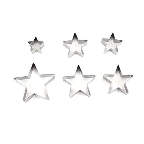 OUNONA Mini Ausstechformen Edelstahl Stern Ausstecher für Keks Plätzchen 6 stück -