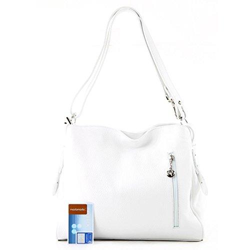 modamoda de - ital. Ledertasche Damentasche Umhängetasche Tasche Schultertasche Leder T119 Weiß