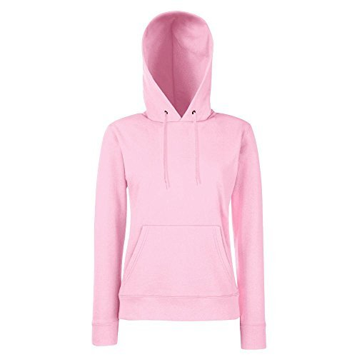 Fruit of the Loom - Lady-Fit Hooded Sweat M,Light Pink Rosa Hoodie