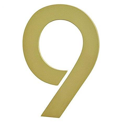 nanook Edelstahl Hausnummer 9 Modell 'Bauhaus' - selbstklebend - Farbe: Messing / Gold - 10 cm - Nr....