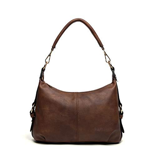 Katloo Damen Umhängetaschen Leder Mädchen Schultertasche Kleine Shopper Handtaschen Viele Fächer mit 2 Schulterriemen Für den Urlaub Einkaufen Wochenenden (Braun) -