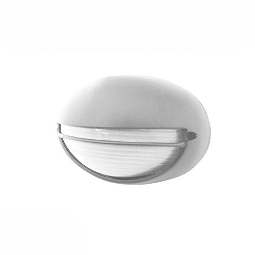 Plafón exterior ovalado con visera plata 60W E27