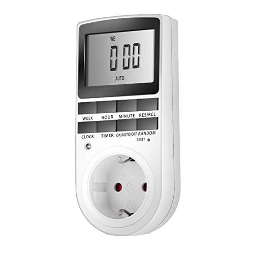 LouiseEvel215 Elektronische Digitale Zeitschaltuhr Stecker Küche Timer Steckdose 230V 50Hz 7 Tage 12/24 Stunden programmierbare Steckdose