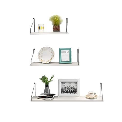 GY Schwimmendes Regal 3-teiliges Wand-Set Hölzern Wand Speicher Anzeigen Bücherregal, Dekoration Wohnzimmer, Schlafzimmer Espresso-Finish 2 Farben (Farbe : Weiß)