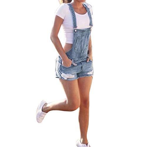 Donna tuta tasche jeans ragazza strappati salopette casual moda pagliaccetto pantaloncini