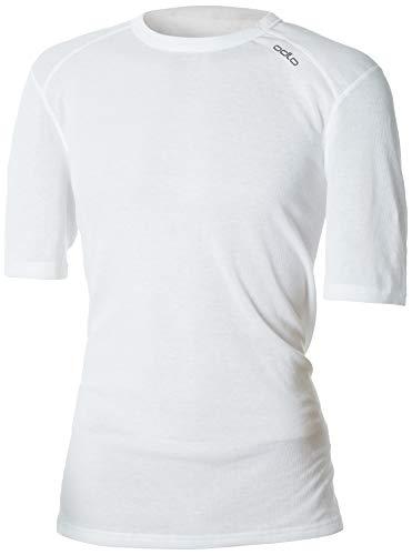 Odlo Herren Shirt Short Sleeve Crew Neck Warm Unterhemd, White, L