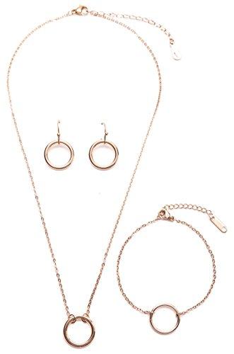 amen Schmuckset mit Kreisdesign in Roségold | Offen Kreis Ohrringe Kette mit Anhänger und Armband mit Kreis (Trio-kostüme Für Frauen)