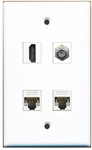 RiteAV-1Port HDMI 1Port Koax-Kabel TV-F-2Port Cat5e Ethernet Weiß Wall Plate 2-port-wall Plate