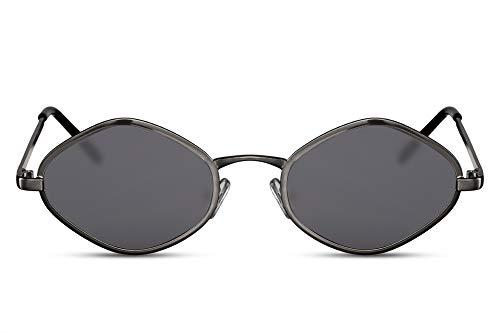 Cheapass Sonnenbrille Schwarz Diamant Hexagonal Klein Schmal UV-400 Designer-Brille Metall Damen Frauen