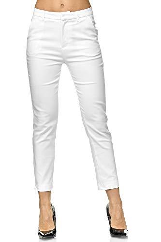 Elara Damen Chino Hose | Slim Fit | Schicke Stoffhose | Chunkyrayan VS19001-2 White-36