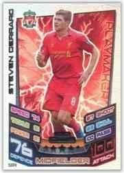 Match Attax 2012 2013 Steven Gerrard Hundred 100 Club Liverpool 12 13