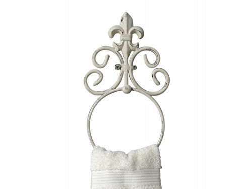 Handtuchhalter Handtuchring Metall antik- weiß im Shabby-Chic-Stil Lilie Bad WC