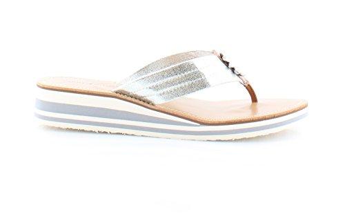 Tommy Hilfiger Rayce Synthetik Keilabsätze Sandale Silver Multi