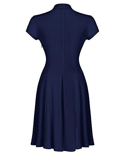 Elegante 50er Damen V-Ausschnitt Swing Kleider Festliche Cocktailkleid Abendkleid Marine