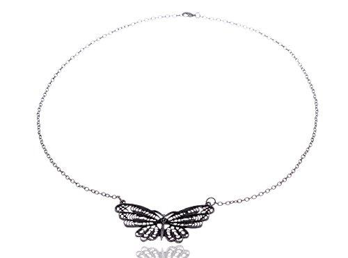 Fliegen Kostüm Flügel - Alilang metallische Legierung Silber Ton Filigrane Flügel Fliegen Schmetterling Kostüm Pendant Halskette