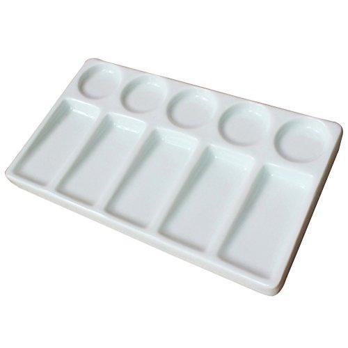 ROSENICE 10-Well rechteckige Form Porzellan-Palette Keramik Aquarell auslaufsicher Malerei Palette (weiß) Form Porzellan