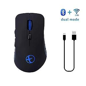 Yehyep Dual-Mode-Bluetooth Optical Mouse, Wiederaufladbare 2,4 Ghz Und Bluetooth Wireless Mouse, Mit 800-1200-1600 DPI / 7-Color Veränderbare Hintergrundbeleuchtung, Für PC/Mac/Laptop