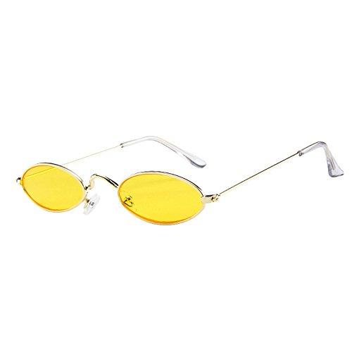 Lazzboy Herren Damen Retro Kleine Ovale Sonnenbrille Metallrahmen Shades Eyewear Unisex Reise Für Brillen Katzenauge Metall Rand Rahmen Frau Sonnebrille Gespiegelte Linse Sunglasses(E)
