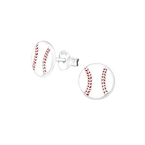 Liara - Baseball Bunte Ohrstecker aus 925er Sterling Silber.Poliert und nickelfrei