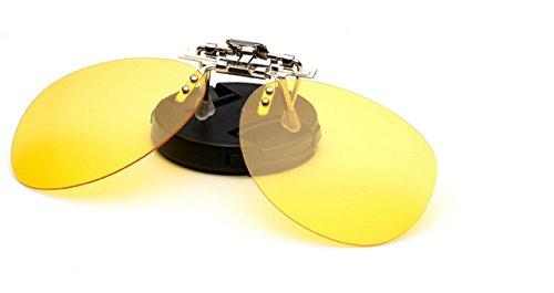 Zheino Jaune Lunettes Clip Nuit Lunettes de Soleil UV400 Conduite de 1904 Unisexe Polarisé Clip Sur Flip Up Aviateur Style Plastic Lunettes Nuit de Pêche Polarisée Conduite Cyclisme Myopie Lunettes de Clip Yellow