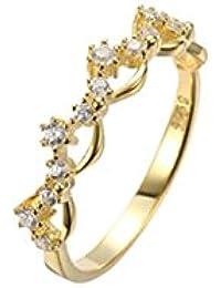 AmDxD Bijoux Modernes Plaqué Or Bague de Mariage pour Femme Creux Fleur CZ e670206daf77