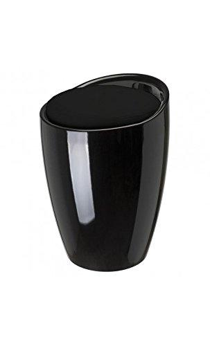 Puf Pop Taburete y baúl de almacenaje Negro cojín Blanco ABS la Chaise Longue 32-M2–007