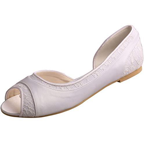 SERAPH MW060 Frauen Hochzeit Brautschuhe Peep Toe D'Orsay Satin Spitze Ballerinas,White,37EU Peep Toe Dorsay Pump
