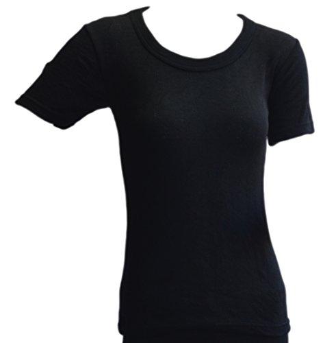 Octave® 6pacco donna vento trappola biancheria termica a maniche corte t-shirt/canotta/top Black