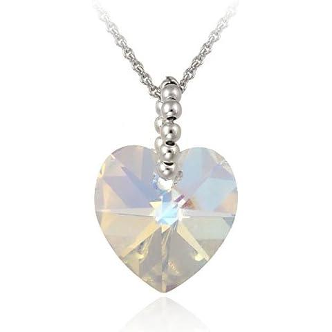 Argento Sterling Aurora borealis cristallo Swarovski Ciondolo a forma di cuore