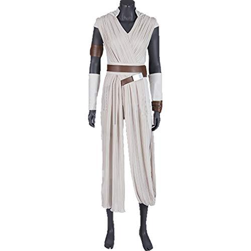 Details Kostüm Rey Star Wars - nihiug Star Wars 9 Skywalker Rise Cosplay Kostüm Schauspielerin Rey Rey Schal Komplette COS Kleidung,White-S