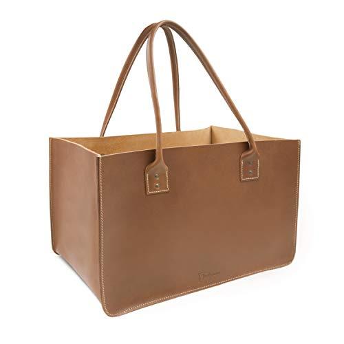 Made in Germany große Einkaufstasche - Einkaufskorb LISSABON aus caramel braunem Leder inkl. BIO-Lederpflege von THIELEMANN