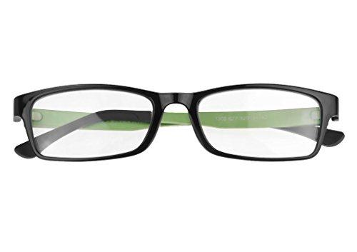 Modische Trendige Nerd Brille Unisex Modebille Sonnenbrille Brille klare Linse 102% UV Schutz Brille ohne Stärke Modern und elegant im Stylischen Nerd Look in verschiedenen Farbkombinationen
