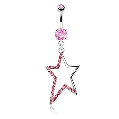Coolbodyart Acier chirurgical métallique Piercing nombril Pendentif Contour asymétrique étoile recouvert avec zircone incolore, rose, aqua rose