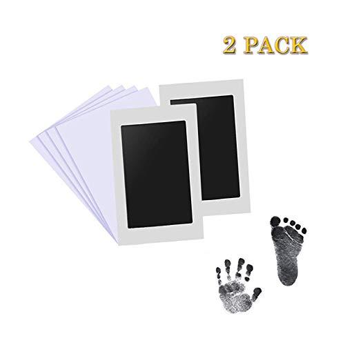 Aikvigss Baby Pad sans encre pour bébé Empreintes de mains et empreintes digitales Kit avec 4 cartes d'impression supplémentaires Perfect Keep Baby Memory Cadeau de naissance (noir)