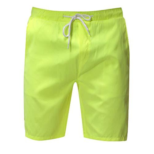 Xmiral Shorts Mode für Männer Einfarbig Kordelzug Taschen Shorts Lässig Herren Strandhosen Sports Training Party Beachshorts Badehose(Grün,5XL)