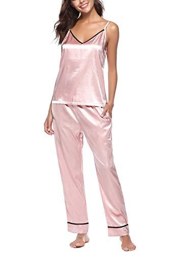 Pyjama Damen Schlafanzug Lang Sexy Satin Rosa Nachtwäsche Nachthemd Zweiteiliger Einfarbige Silk Sleepwear Loungewear Set