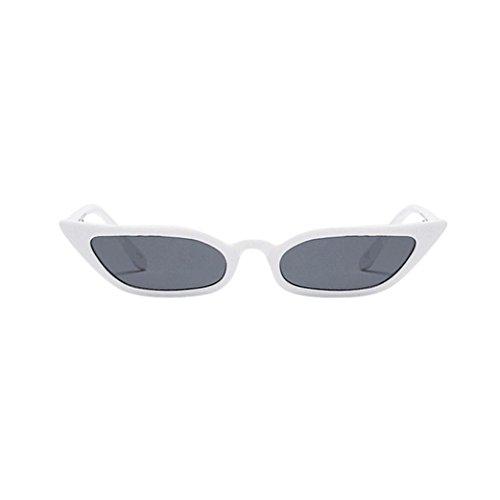 Vovotrade Sonnenbrille Frauen Dame Weinlese Katzenaugen Sonnenbrille Retro kleiner Rahmen UV400 Brillen dünne Gläser Mode Flieger Sonnenbrille Damen für Reise, die Sport fährt (Weiß)